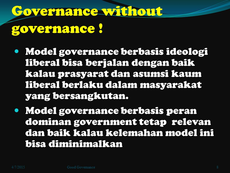 Governance without governance !