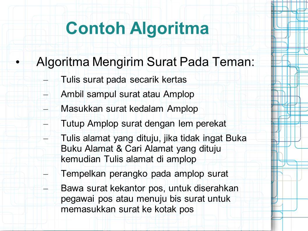 Contoh Algoritma Algoritma Mengirim Surat Pada Teman: