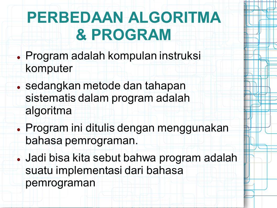 PERBEDAAN ALGORITMA & PROGRAM
