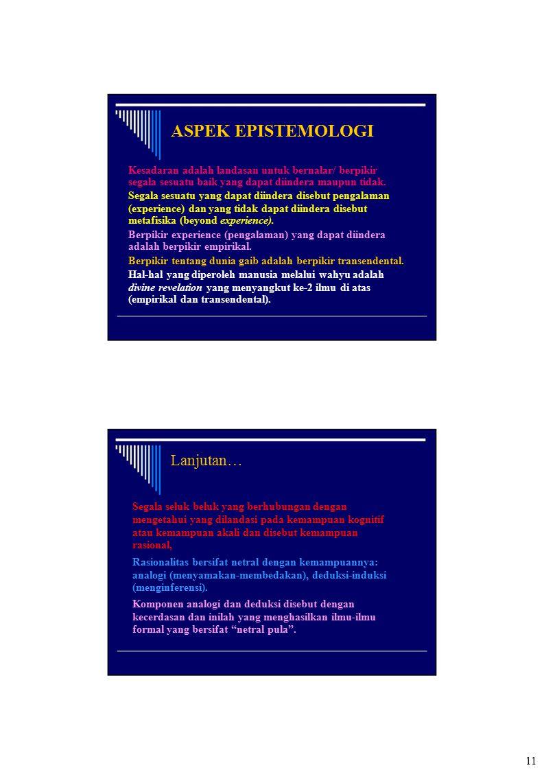 ASPEK EPISTEMOLOGI Lanjutan…