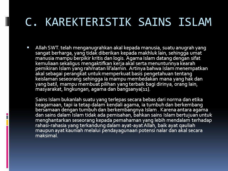 C. KAREKTERISTIK SAINS ISLAM