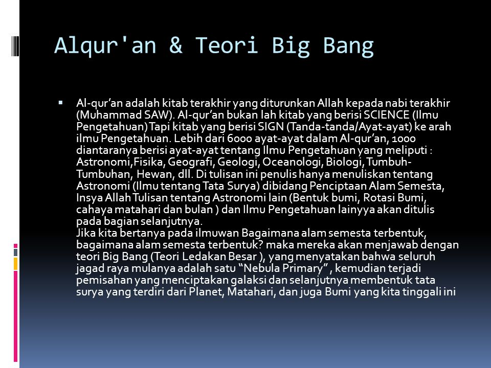 Alqur an & Teori Big Bang