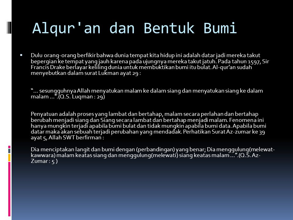 Alqur an dan Bentuk Bumi