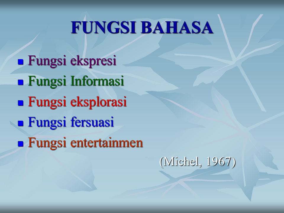 FUNGSI BAHASA Fungsi ekspresi Fungsi Informasi Fungsi eksplorasi