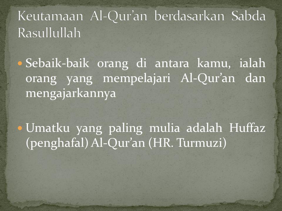 Keutamaan Al-Qur'an berdasarkan Sabda Rasullullah