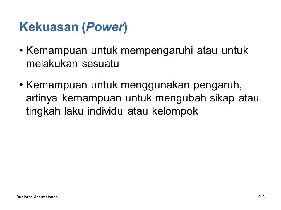Kekuasan (Power) Kemampuan untuk mempengaruhi atau untuk melakukan sesuatu.
