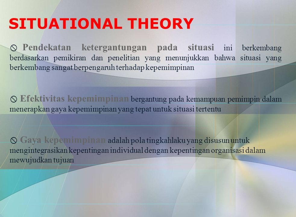 SITUATIONAL THEORY