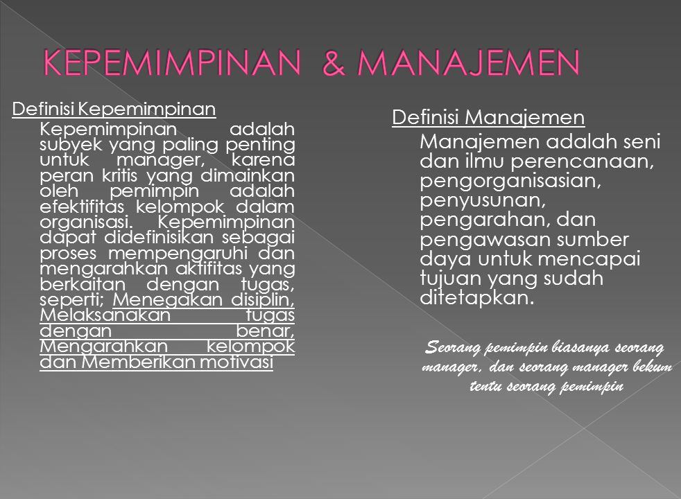 KEPEMIMPINAN & MANAJEMEN