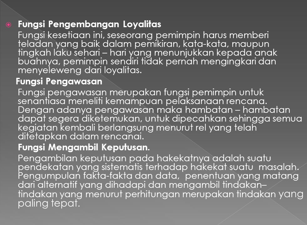 Fungsi Pengembangan Loyalitas