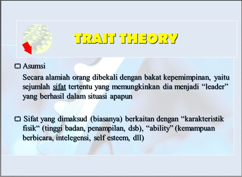 TRAIT THEORY  Asumsi.