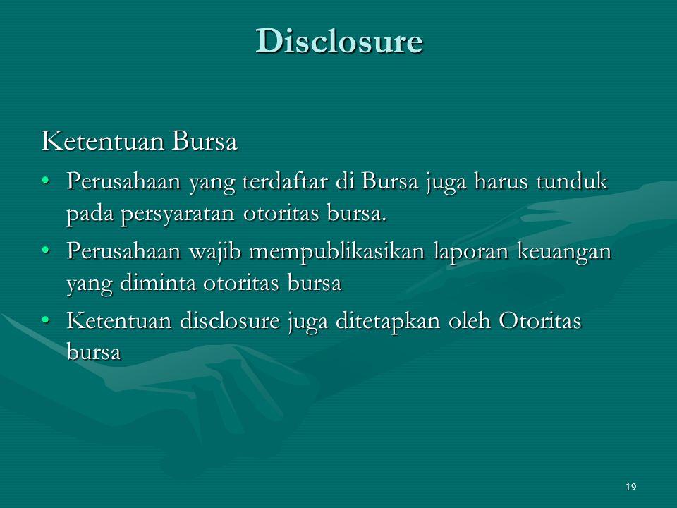 Disclosure Ketentuan Bursa