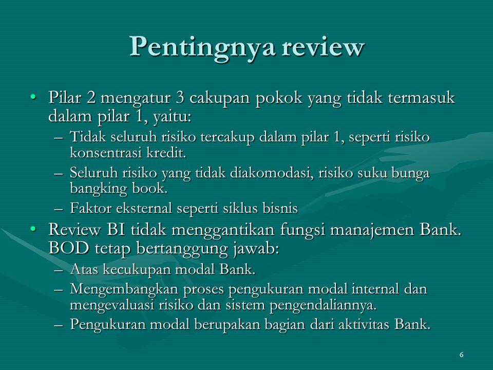 Pentingnya review Pilar 2 mengatur 3 cakupan pokok yang tidak termasuk dalam pilar 1, yaitu: