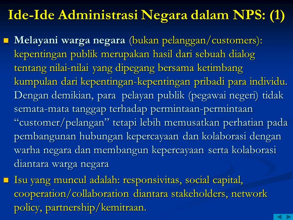 Ide-Ide Administrasi Negara dalam NPS: (1)