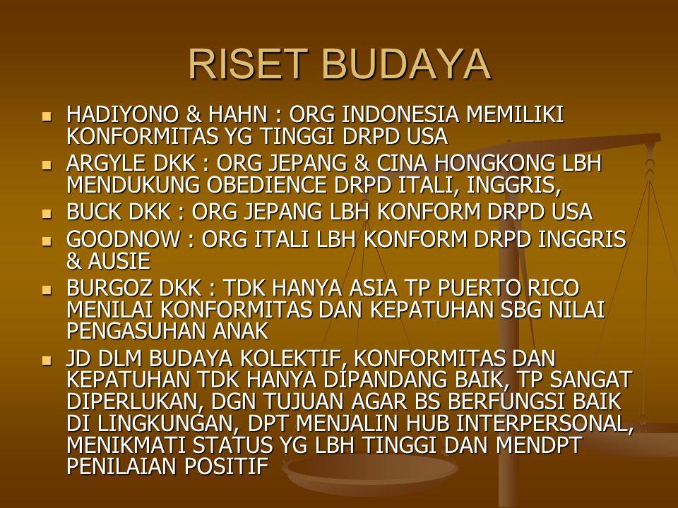 RISET BUDAYA HADIYONO & HAHN : ORG INDONESIA MEMILIKI KONFORMITAS YG TINGGI DRPD USA.