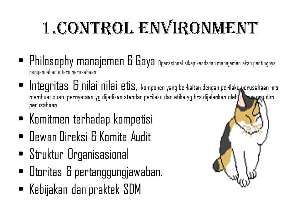 1.Control Environment Philosophy manajemen & Gaya Operasional.sikap kesdaran manajemen akan pentingnya pengendalian intern perusahaan.