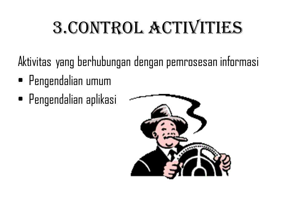 3.Control Activities Aktivitas yang berhubungan dengan pemrosesan informasi.
