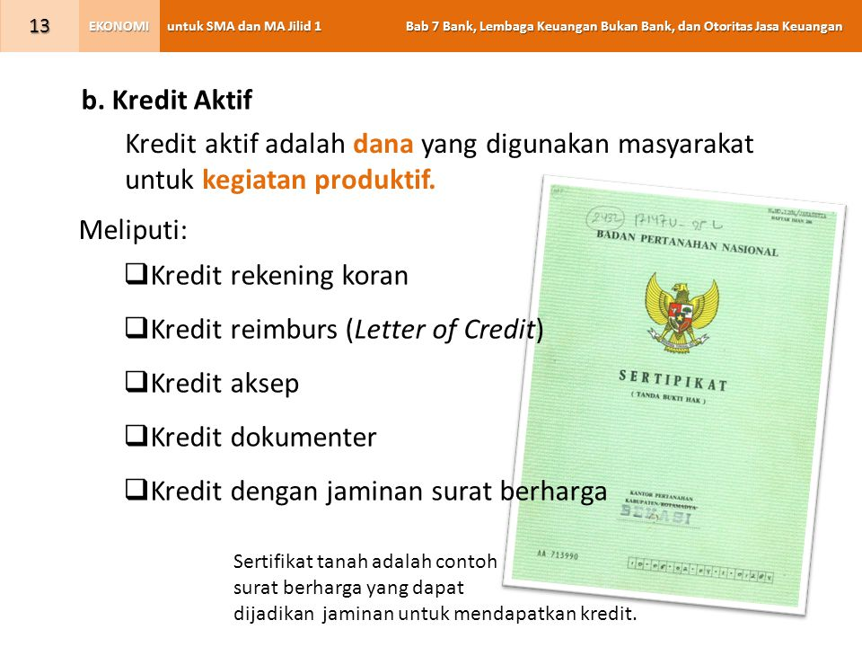 Kredit reimburs (Letter of Credit) Kredit aksep Kredit dokumenter
