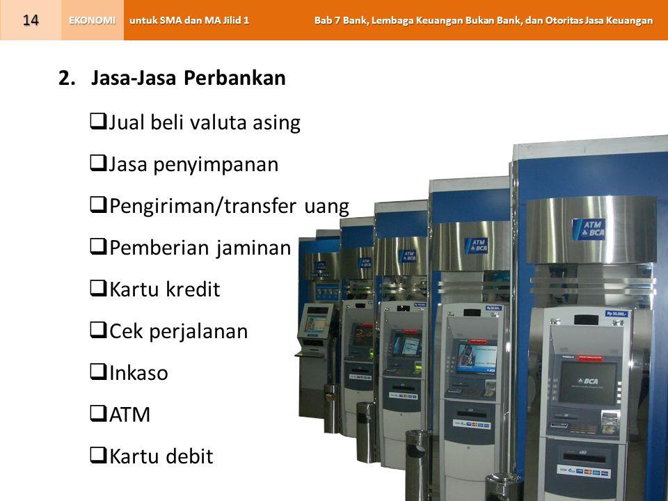 Jasa-Jasa Perbankan Jual beli valuta asing. Jasa penyimpanan. Pengiriman/transfer uang. Pemberian jaminan.