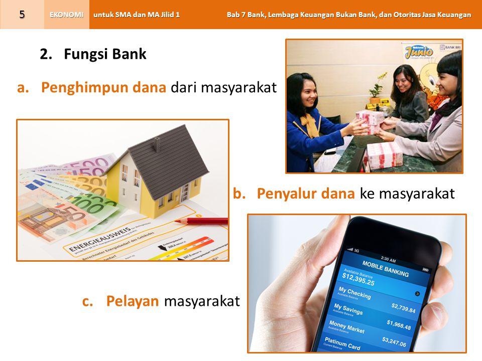Fungsi Bank Penghimpun dana dari masyarakat Penyalur dana ke masyarakat Pelayan masyarakat