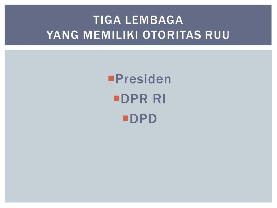 Tiga lembaga yang memiliki otoritas RUU