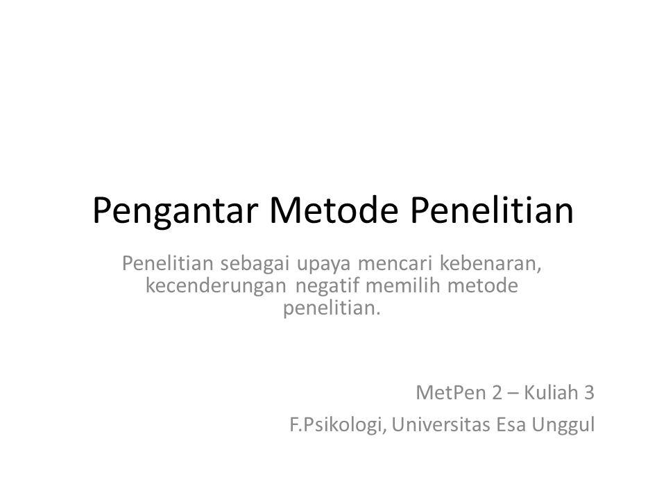 Pengantar Metode Penelitian
