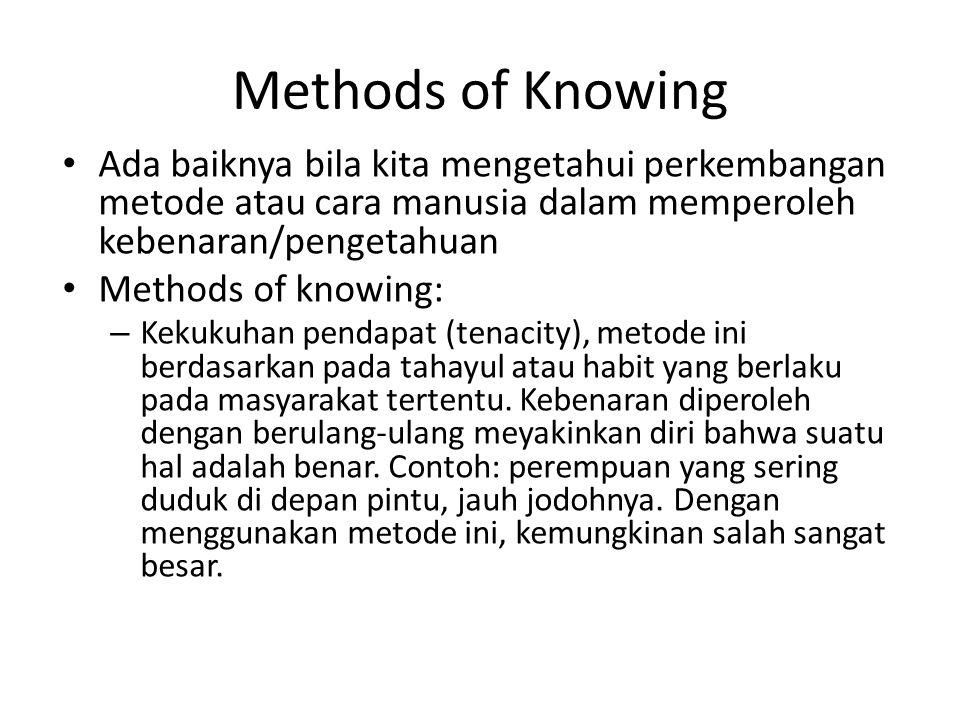 Methods of Knowing Ada baiknya bila kita mengetahui perkembangan metode atau cara manusia dalam memperoleh kebenaran/pengetahuan.