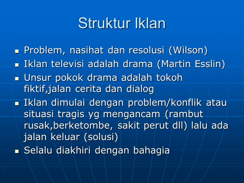 Struktur Iklan Problem, nasihat dan resolusi (Wilson)