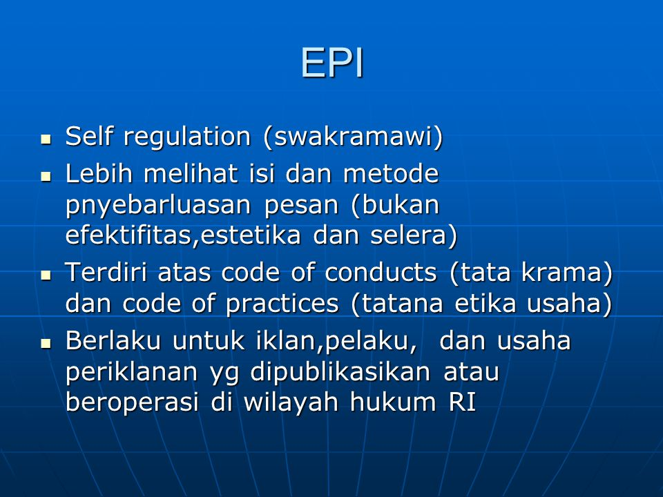 EPI Self regulation (swakramawi)