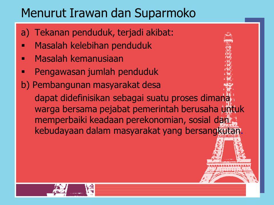 Menurut Irawan dan Suparmoko