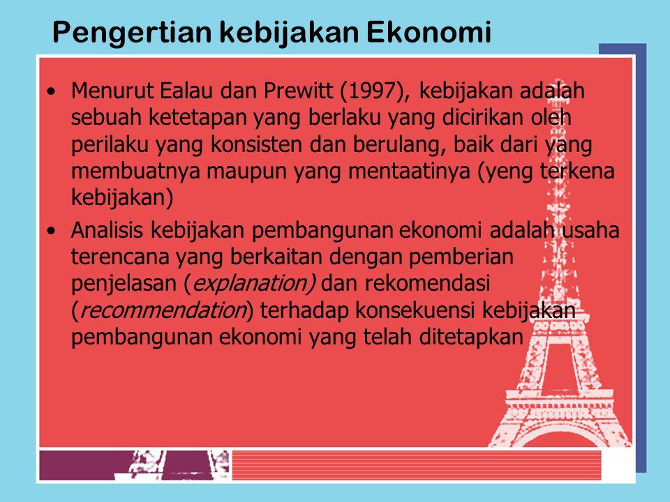 Pengertian kebijakan Ekonomi