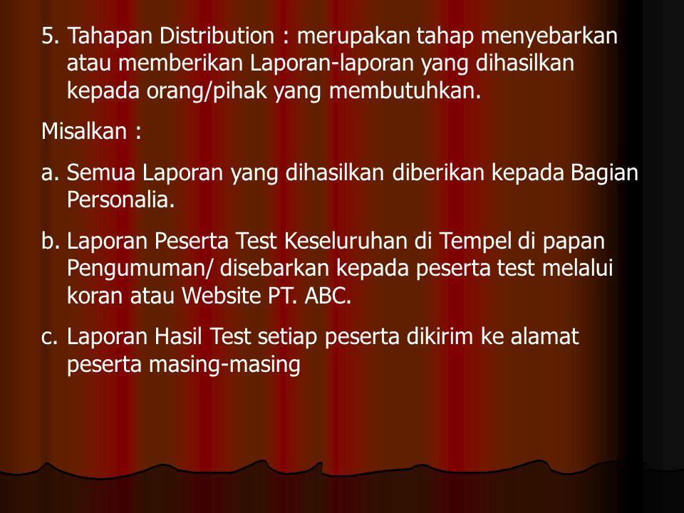 5. Tahapan Distribution : merupakan tahap menyebarkan atau memberikan Laporan-laporan yang dihasilkan kepada orang/pihak yang membutuhkan.