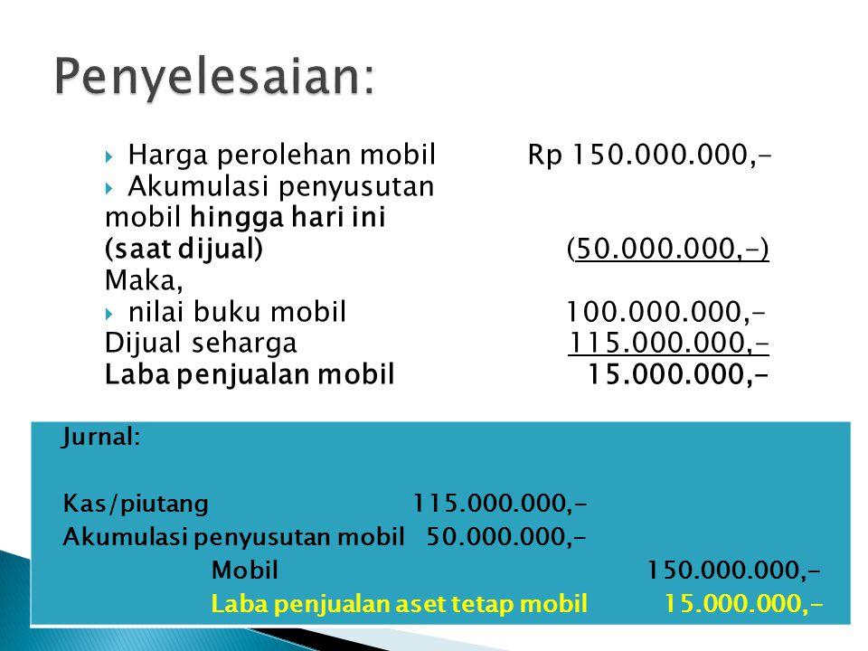 Penyelesaian: Harga perolehan mobil Rp 150.000.000,-