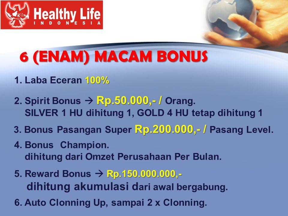 6 (ENAM) MACAM BONUS dihitung akumulasi dari awal bergabung.