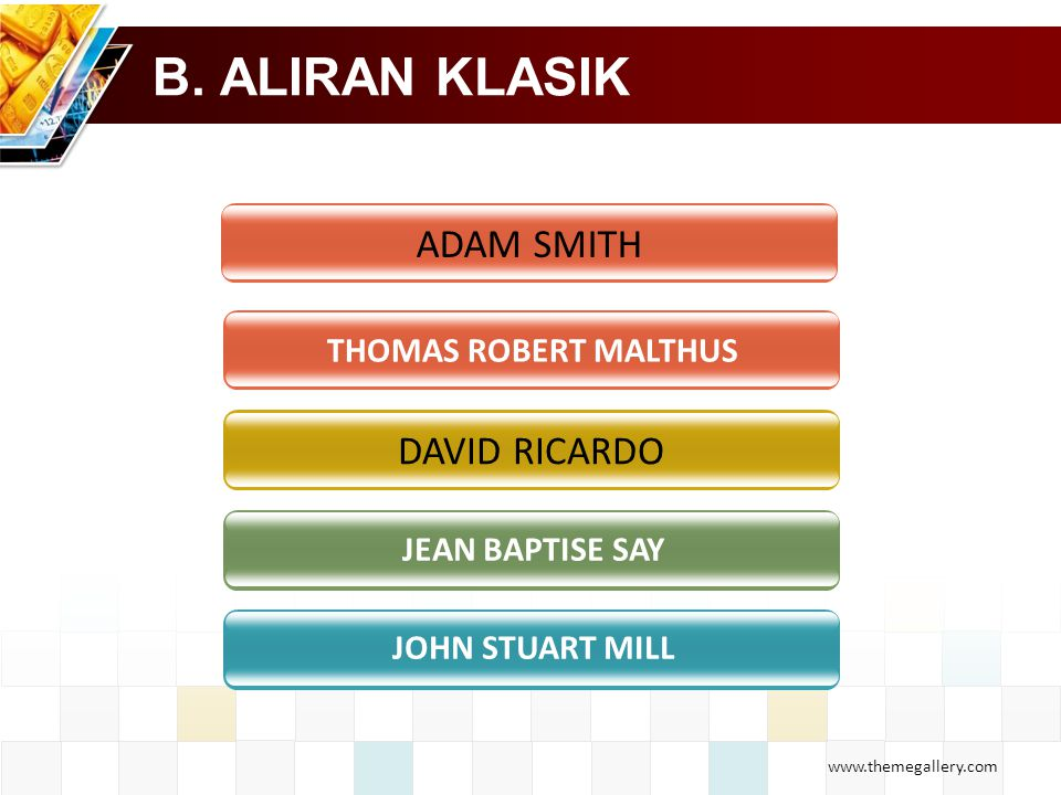 B. ALIRAN KLASIK ADAM SMITH DAVID RICARDO THOMAS ROBERT MALTHUS