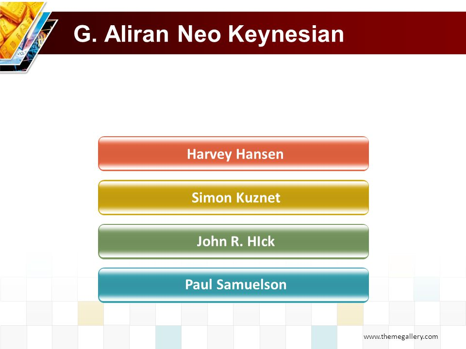 G. Aliran Neo Keynesian Harvey Hansen Simon Kuznet John R. HIck