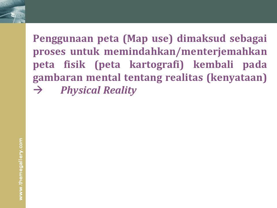 Penggunaan peta (Map use) dimaksud sebagai proses untuk memindahkan/menterjemahkan peta fisik (peta kartografi) kembali pada gambaran mental tentang realitas (kenyataan)  Physical Reality