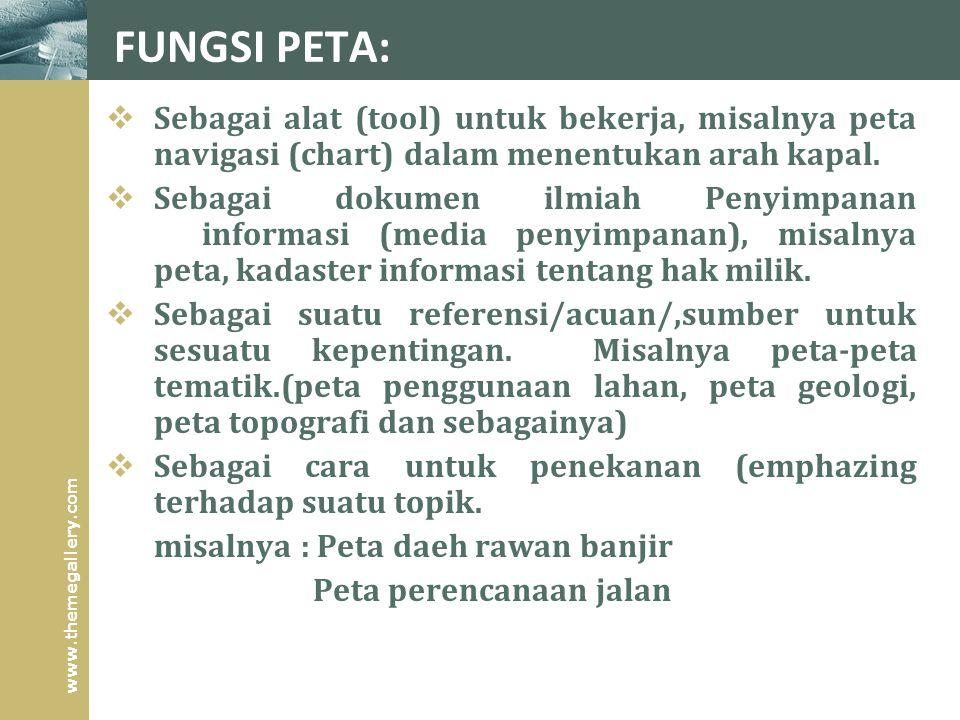 FUNGSI PETA: Sebagai alat (tool) untuk bekerja, misalnya peta navigasi (chart) dalam menentukan arah kapal.