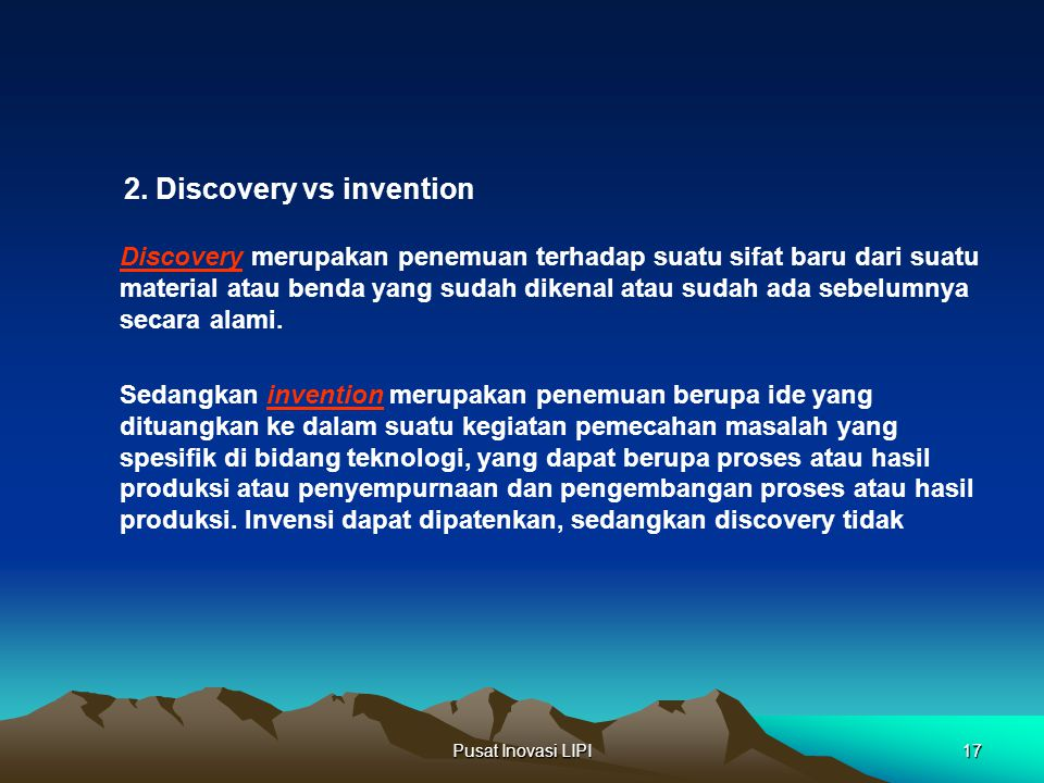 2. Discovery vs invention