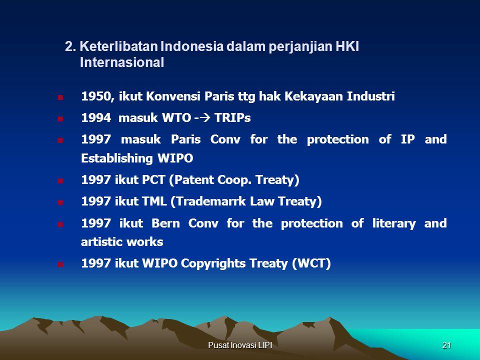 2. Keterlibatan Indonesia dalam perjanjian HKI Internasional