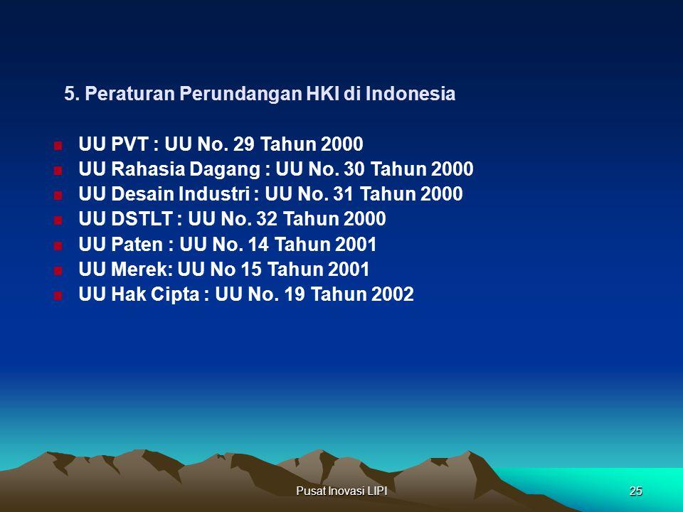 5. Peraturan Perundangan HKI di Indonesia