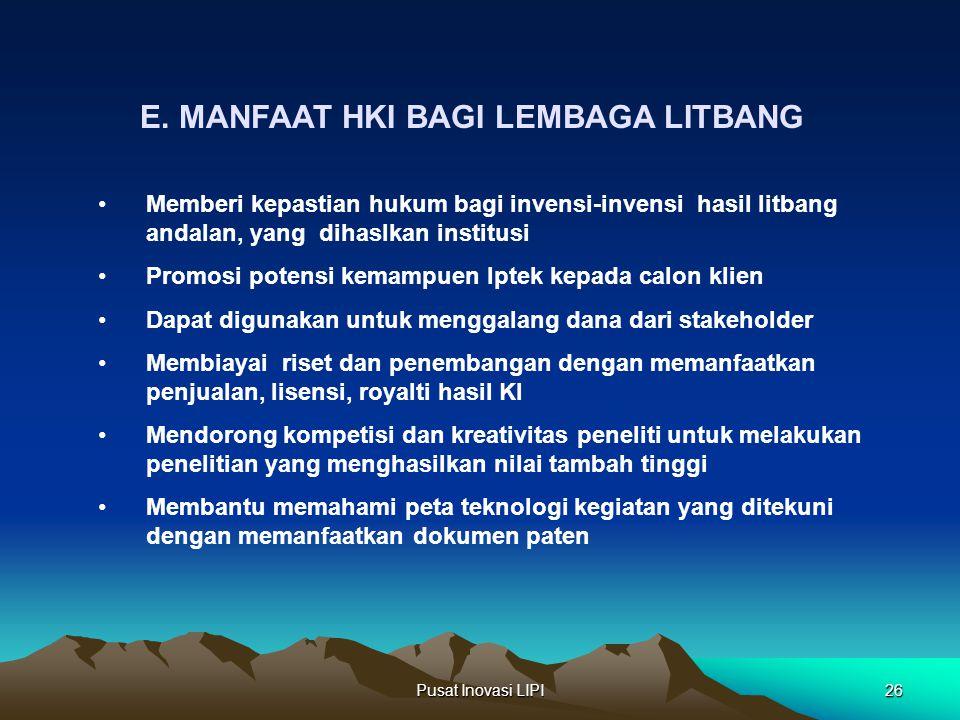 E. MANFAAT HKI BAGI LEMBAGA LITBANG