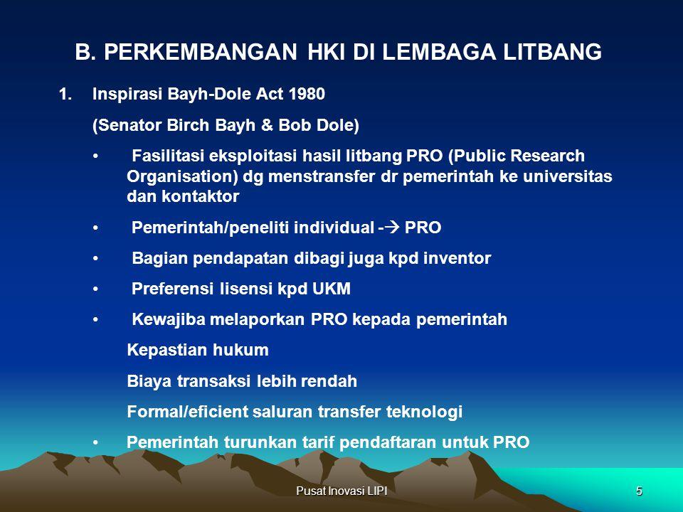 B. PERKEMBANGAN HKI DI LEMBAGA LITBANG