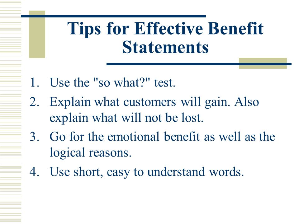 Tips for Effective Benefit Statements