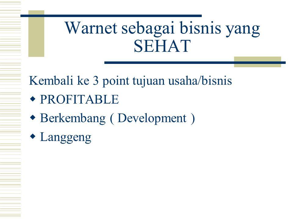 Warnet sebagai bisnis yang SEHAT