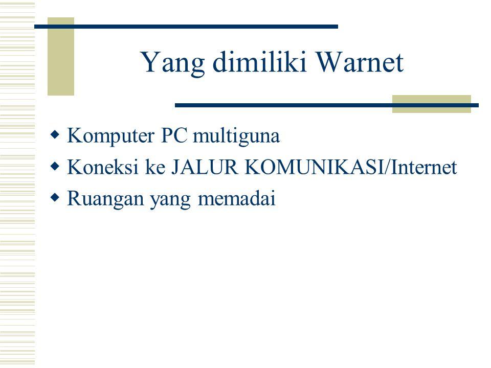 Yang dimiliki Warnet Komputer PC multiguna