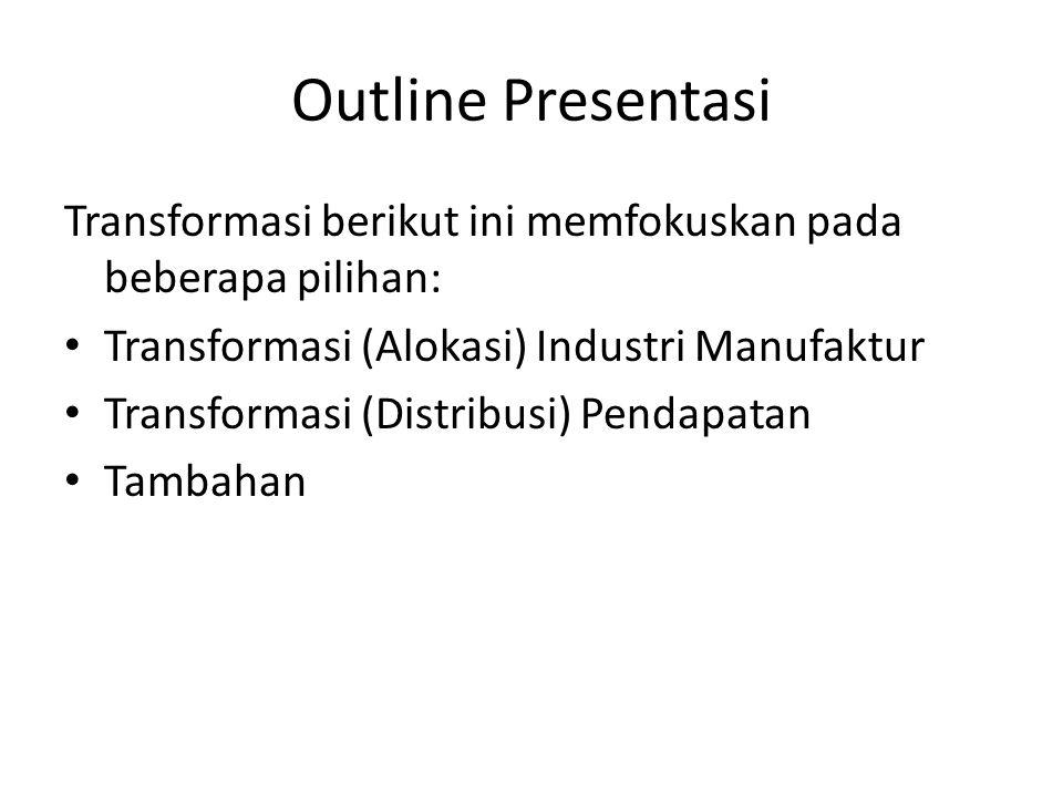 Outline Presentasi Transformasi berikut ini memfokuskan pada beberapa pilihan: Transformasi (Alokasi) Industri Manufaktur.