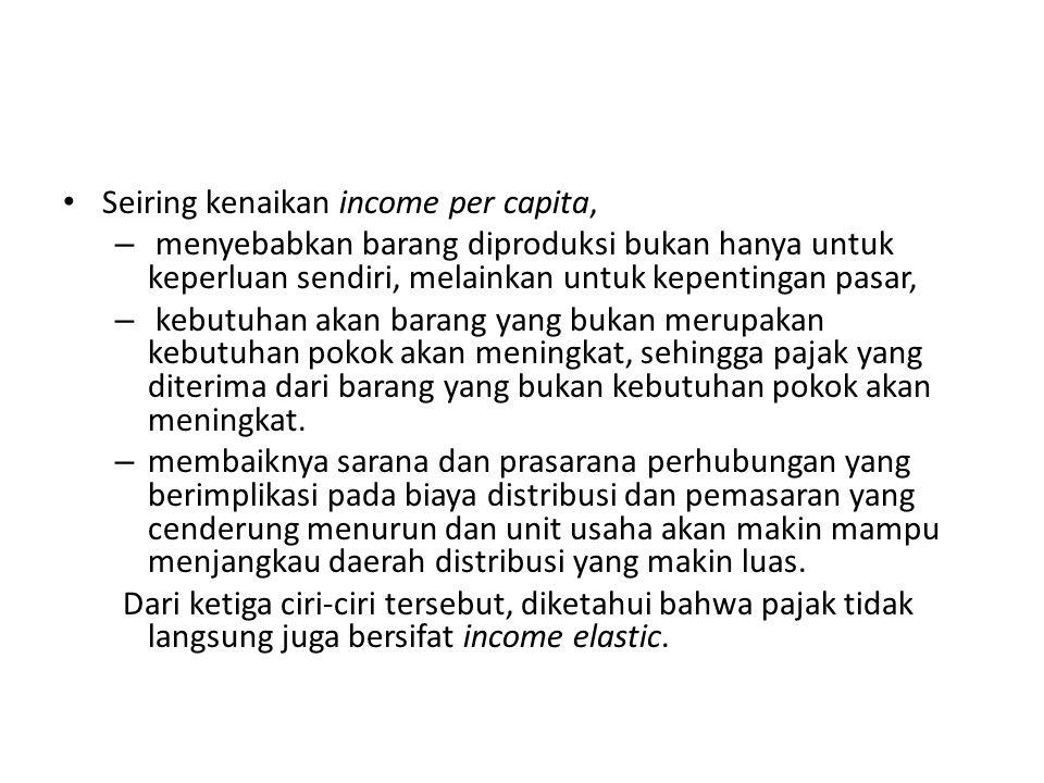 Seiring kenaikan income per capita,