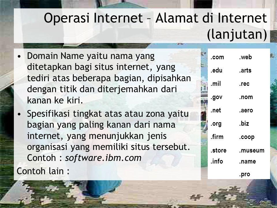 Operasi Internet – Alamat di Internet (lanjutan)