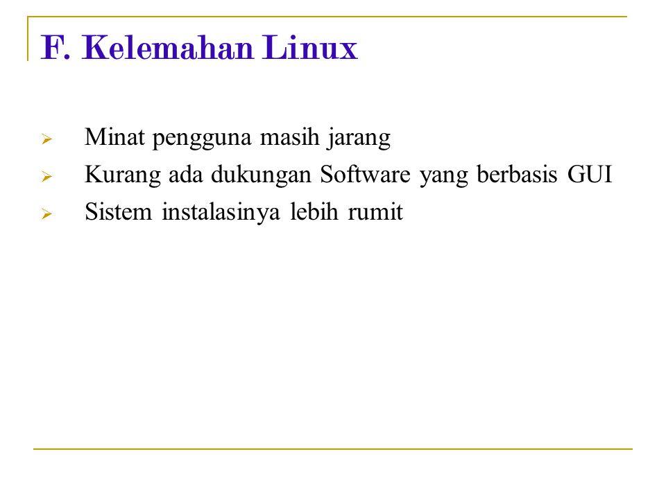 F. Kelemahan Linux Minat pengguna masih jarang