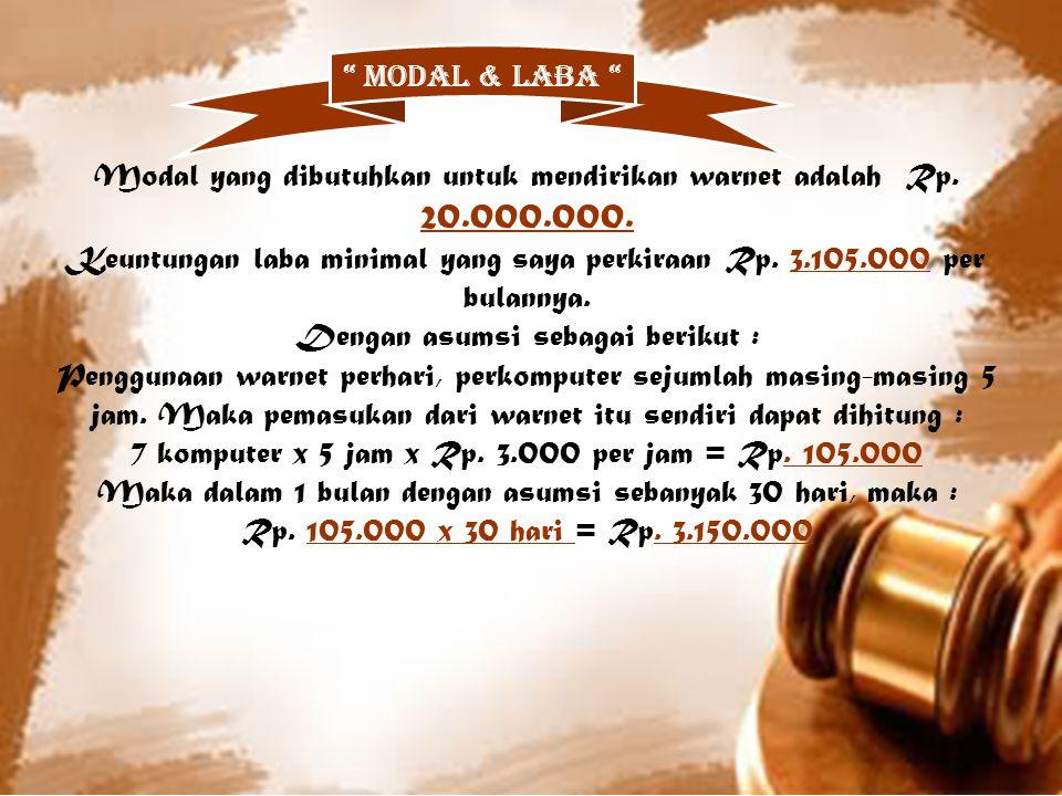 Modal yang dibutuhkan untuk mendirikan warnet adalah Rp. 20.000.000.